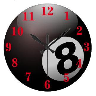 Pool Eight Ball Sports Large Clock