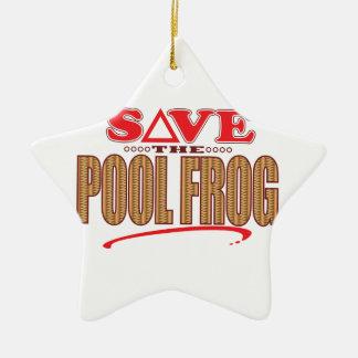 Pool Frog Save Christmas Ornament