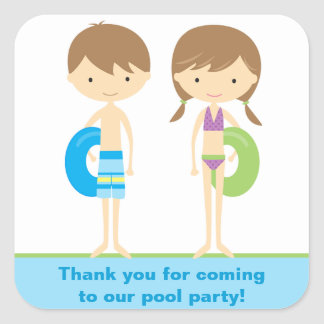 Pool Kids Party Stickers