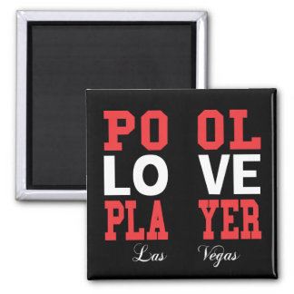 Pool Love Player Square Magnet