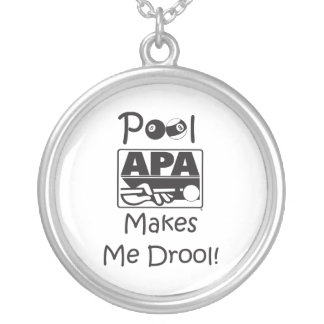 Pool Makes Me Drool Silver Plated Necklace