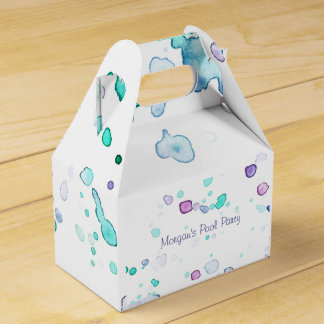 Pool or Beach Party, Watercolor Splash Favor Boxes