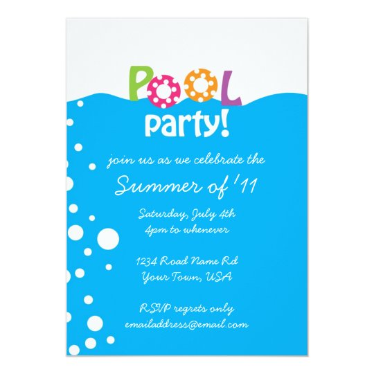 Pool Party 13 Cm X 18 Cm Invitation Card
