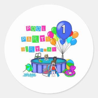 Pool Party 1st Birthday Classic Round Sticker