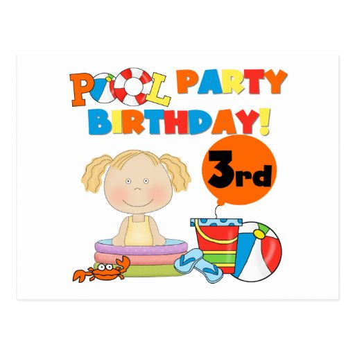 Pool Party 3rd Birthday T-shirts and Gifts Post Card