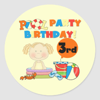 Pool Party 3rd Birthday T-shirts and Gifts Round Sticker