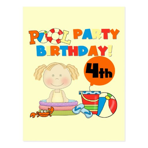 Pool Party 4th Birthday Tshirts and Gifts Post Card