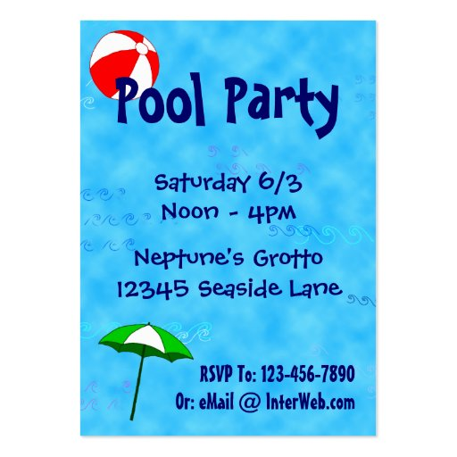 Pool Party Beach Toys Invitation Business Card