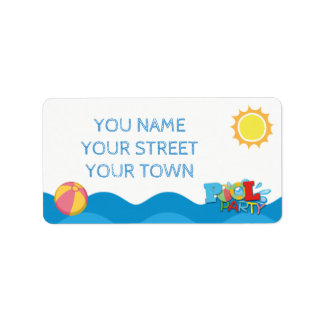 Pool Party Birthday Address Labels