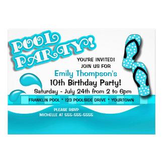 Pool Party Birthday Custom Invitation