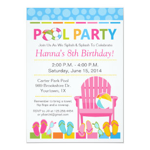 swim party invitations announcements zazzle uk