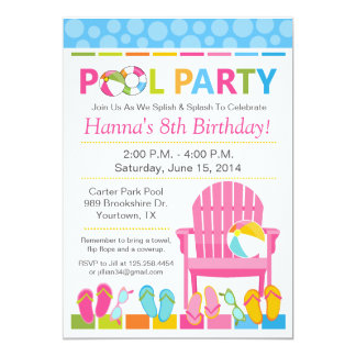 Pool Party Birthday Invitation and Swim Party