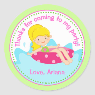 Pool Party Birthday Party Favor Tag Sticker