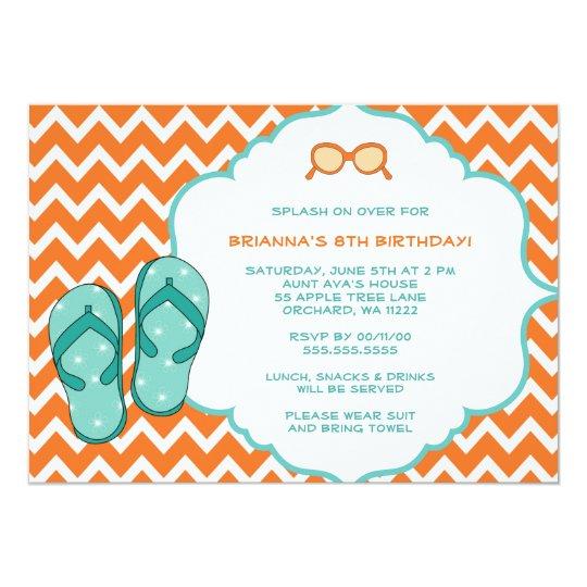 Pool Party Birthday Party invites / flip flops