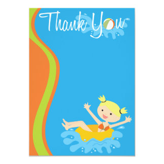 Pool Party Blonde Thank You Personalized Announcement