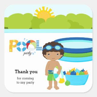 Pool party boy square sticker