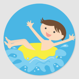 Pool Party Brunette Boy Classic Round Sticker