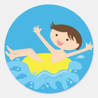 Pool Party Brunette Boy Round Sticker