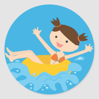 Pool Party Brunette Girl Round Sticker