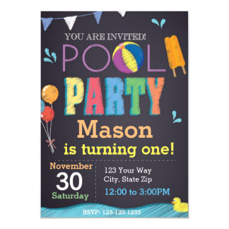 Pool Party Chalkboard Birthday Invitation