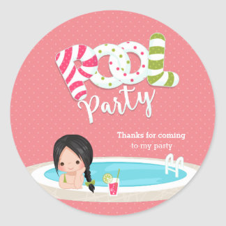 Pool party * choose background color round sticker