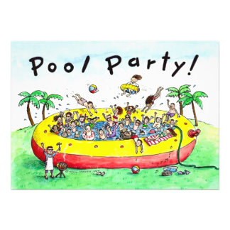 POOL PARTY PERSONALIZED ANNOUNCEMENTS