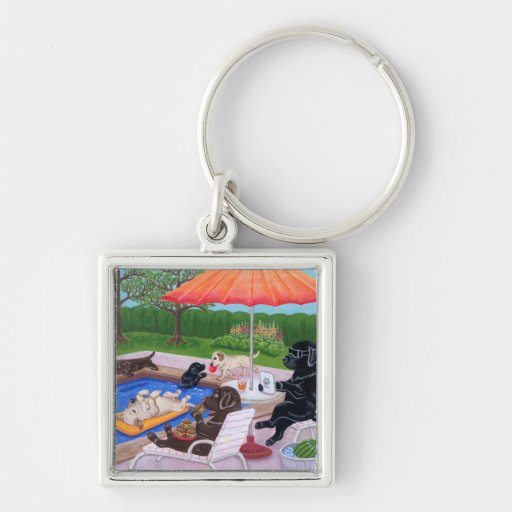 Pool Party Labradors 2 Painting Key Chains
