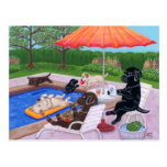 Pool Party Labradors 2 Painting Postcard