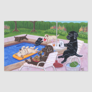 Pool Party Labradors 2 Painting Rectangular Sticker
