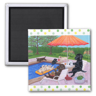 Pool Party Labradors 2 Square Magnet