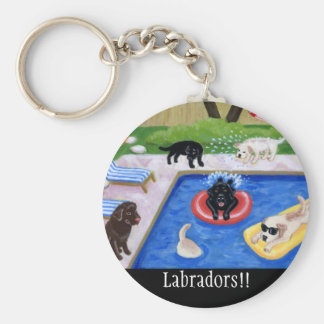 Pool Party Labradors Basic Round Button Key Ring