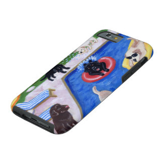 Pool Party Labradors Fun Painting Tough iPhone 6 Case