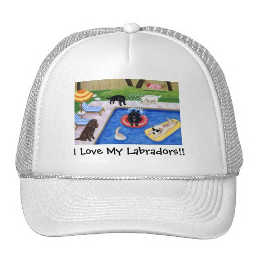 Pool Party Labradors Trucker Hat