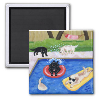 Pool Party Labradors Painting Fridge Magnets
