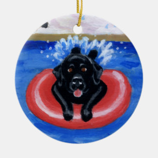 Pool Party Labradors Painting Ornament