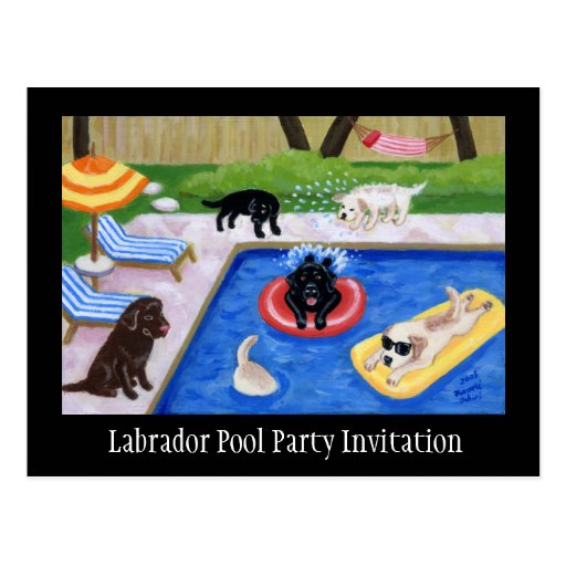 Pool Party Labradors Postcard
