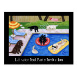 Pool Party Labradors Postcards