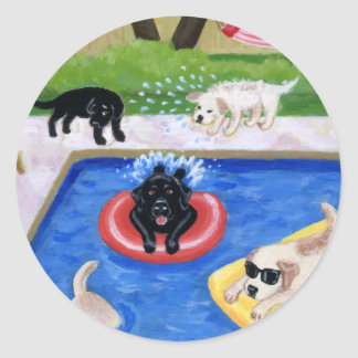 Pool Party Labradors Round Sticker