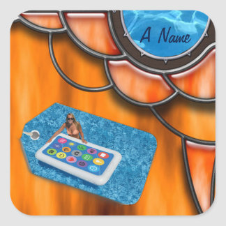 Pool party name square sticker