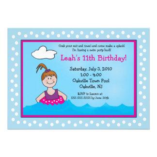 POOL Party Ponytail Girl 5x7 Birthday Invitations
