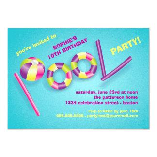 Pool Party Pool Toys Birthday Invitation