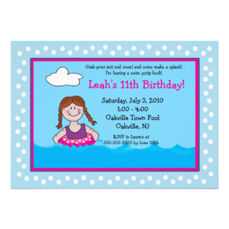 POOL Party Red head Girl 5x7 Birthday Invitations