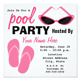 Pool Party - Retro Cat Eye Sunglasses & Flip Flops Card