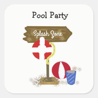 Pool Party Splash Zone Square Sticker