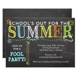 Pool Party Summer Invitation-School's Out Card