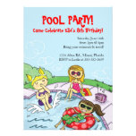 Pool Party Themed Birthday Party Invitations
