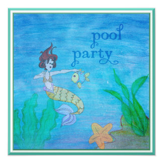Pool Party Tropical Mermaid Personalized 13 Cm X 13 Cm Square Invitation Card
