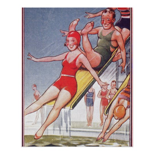 Pool Party Vintage Swimming Poster