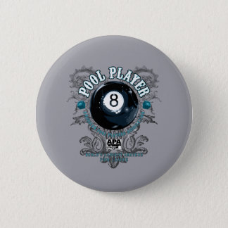 Pool Player Filigree 8-Ball 6 Cm Round Badge