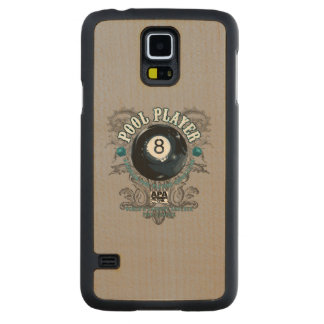 Pool Player Filigree 8-Ball Carved Maple Galaxy S5 Case